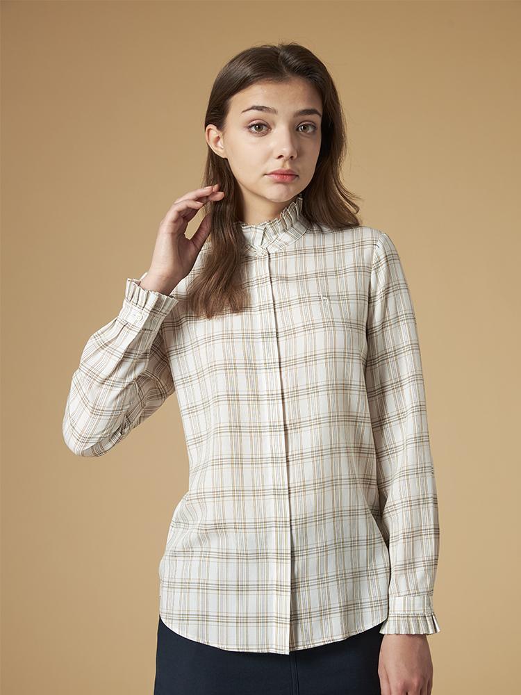 细格纹天丝长袖衬衫