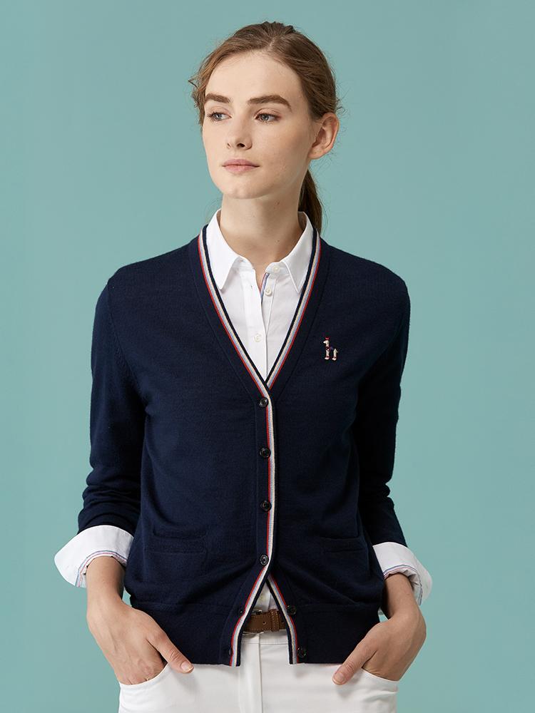 100%美丽诺羊毛V领开衫
