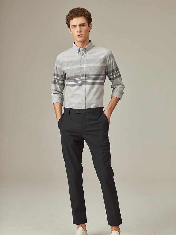 横纹竹节弹力修身长裤