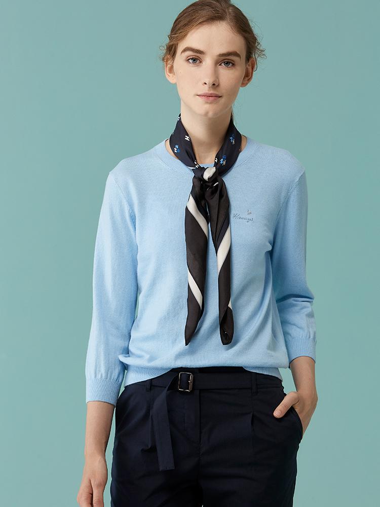 棉羊绒混纺圆领长袖针织衫