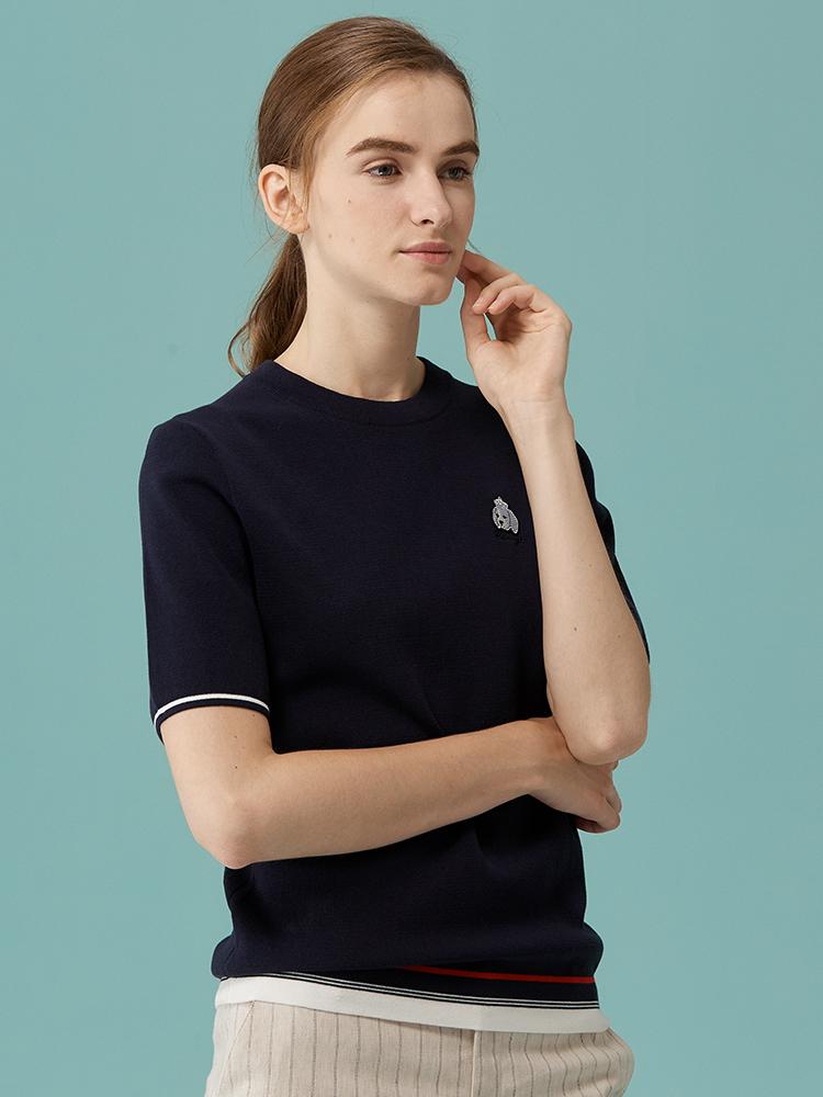 圆领定位条五分袖针织衫