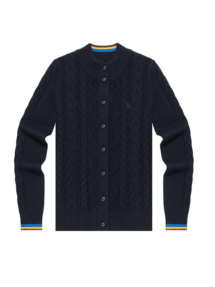100%澳毛小高领外套式开衫