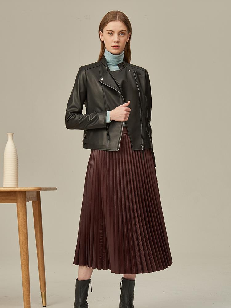 短款羊皮立领偏门襟皮衣