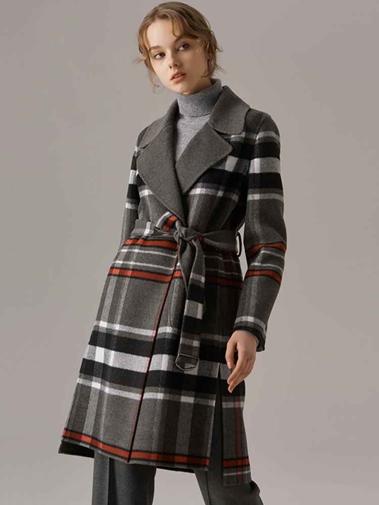 双排扣中长款绵羊皮衣