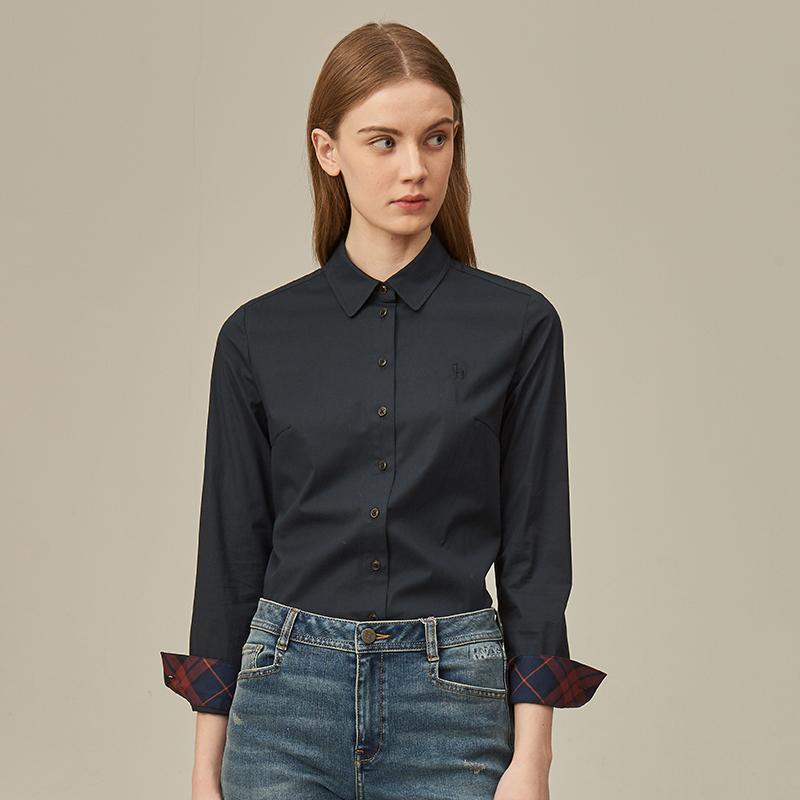 素色有机棉料长袖衬衫