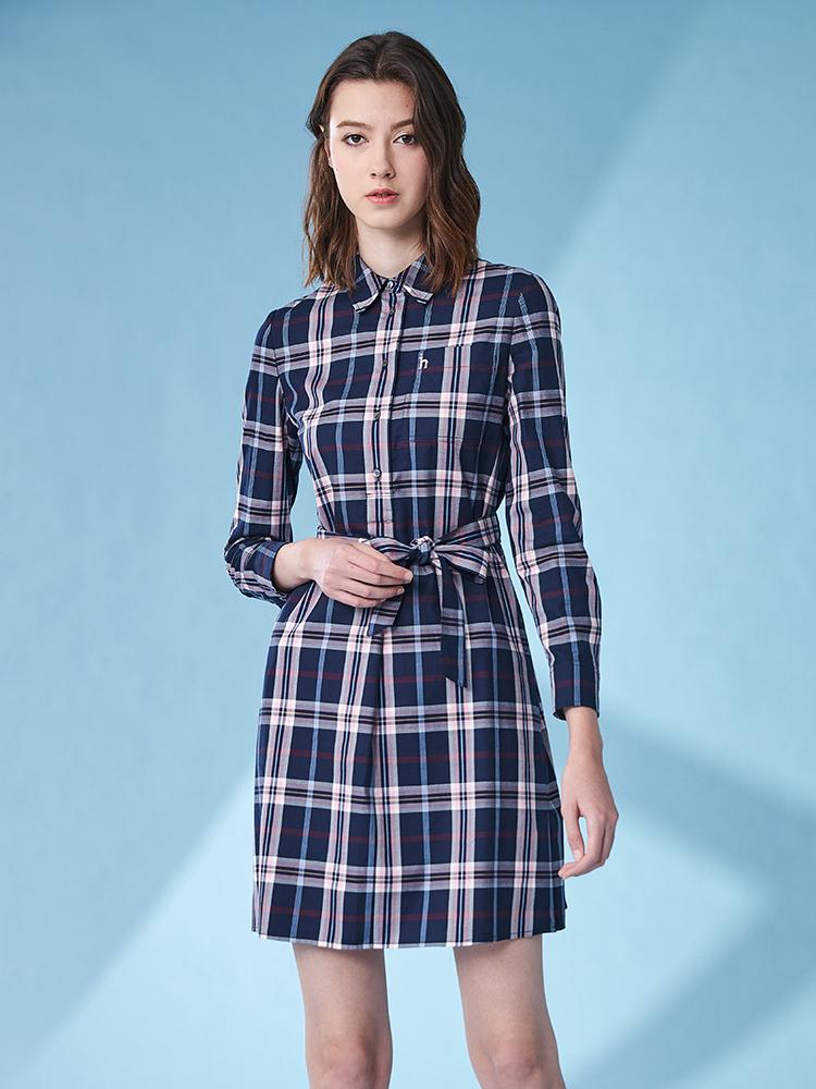 经典格纹衬衫领半开襟长袖连衣裙
