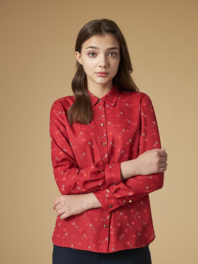 印花长袖衬衫
