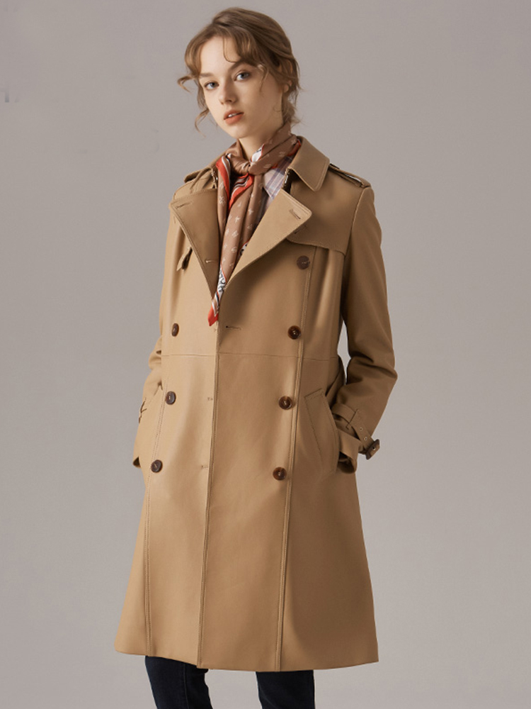 格纹收腰中长款翻领毛呢大衣