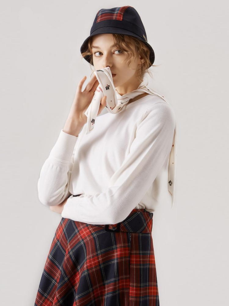 桑蚕丝飘带款100%澳毛羊毛衫