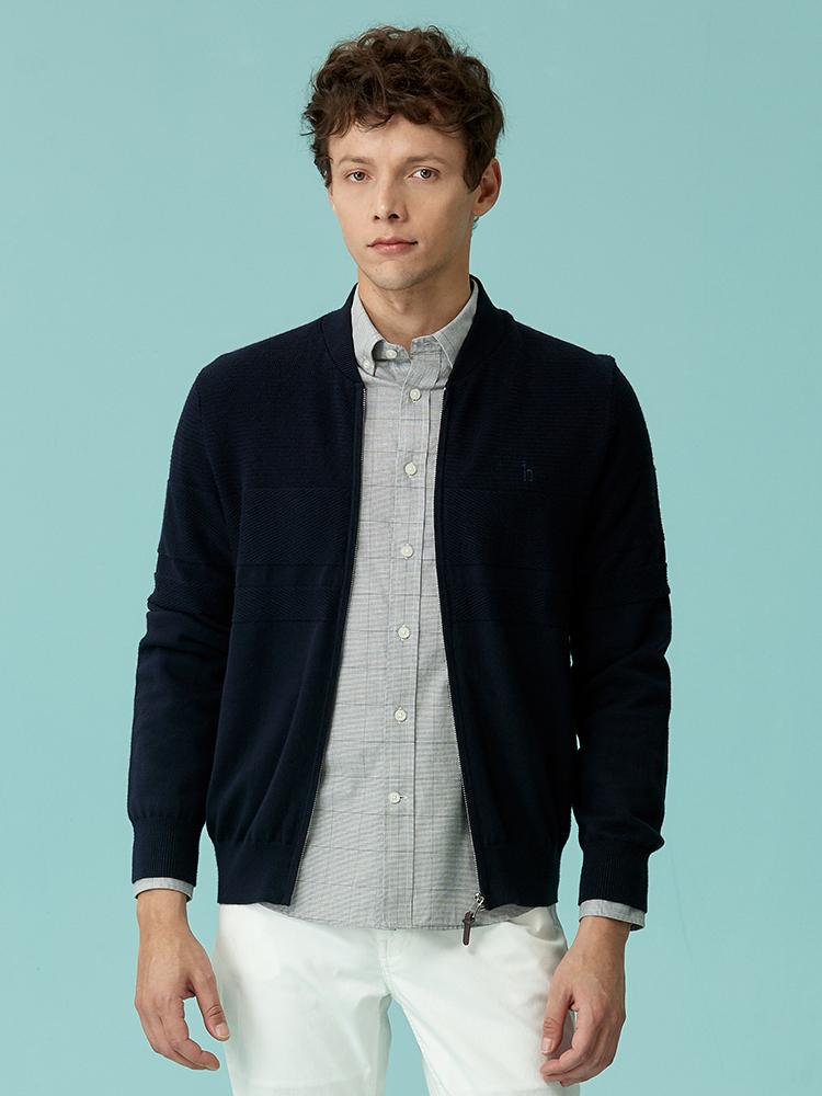 棉羊毛混纺棒球领撞色针织衫