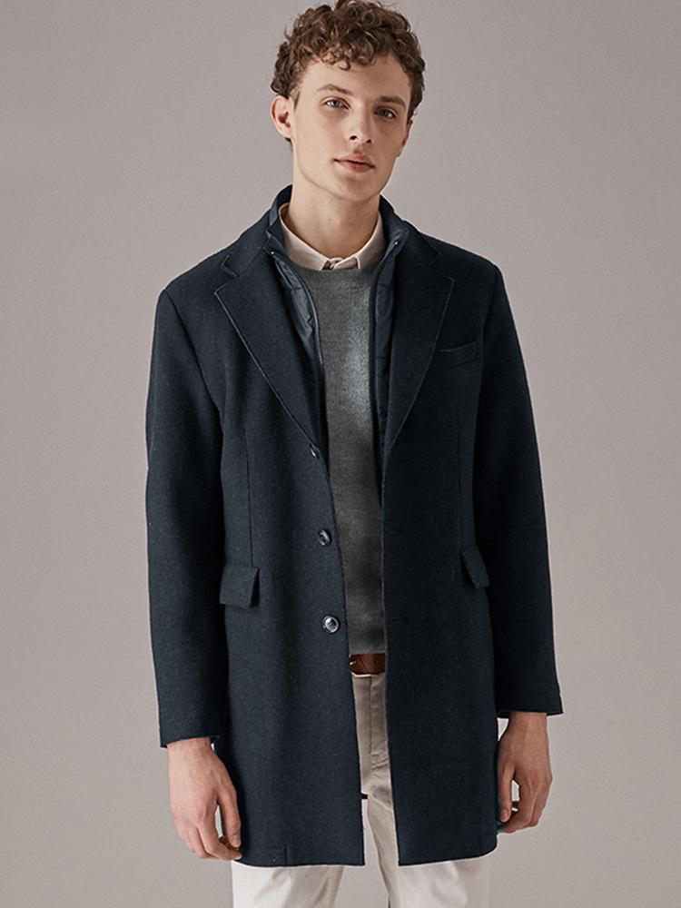 可拆卸新雪丽棉领羊毛大衣