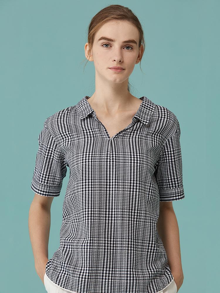 泡泡纱小格子短袖衬衫