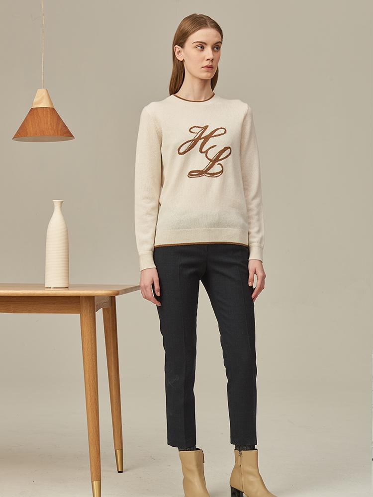 hazzys字母嵌花圆领针织衫