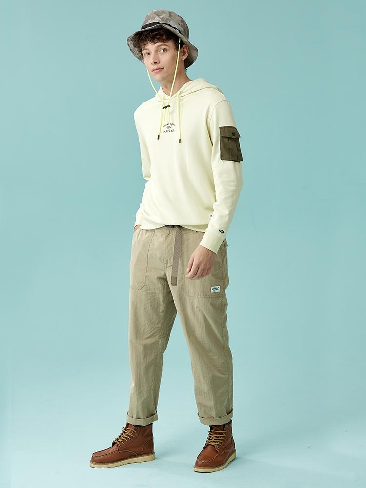棉氨混纺纯色直筒裤