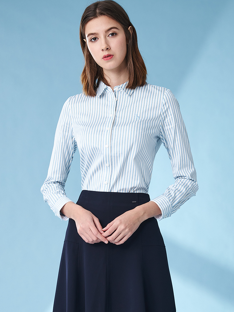 贡缎条纹长袖衬衫