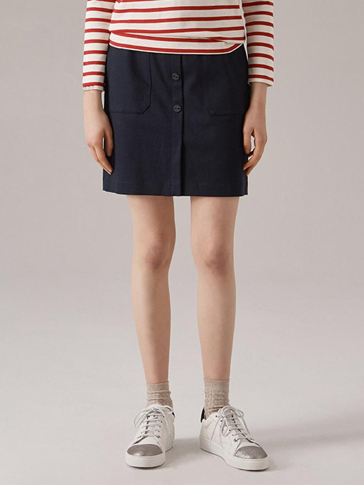 韩国进口混纺斜纹面料短裙