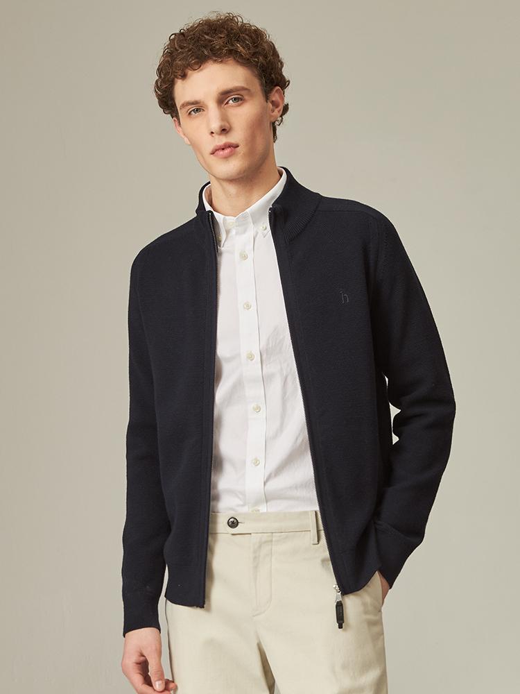 立领素色毛棉混纺开衫毛衫