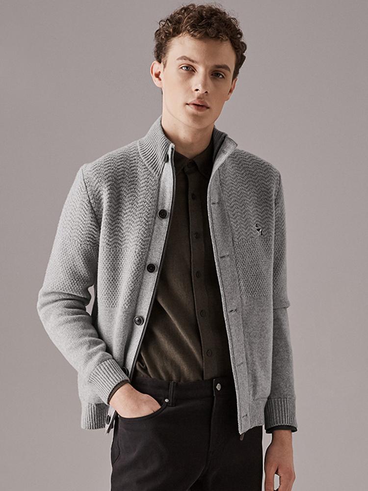 特细澳洲美丽诺立领羊毛外套