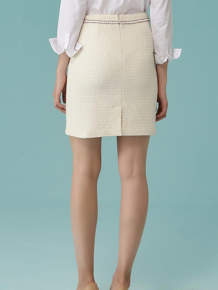 全棉小香风粗花呢H型短裙