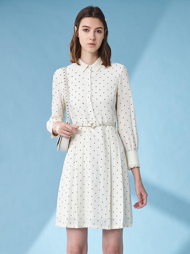 雪纺点点印花七分袖连衣裙