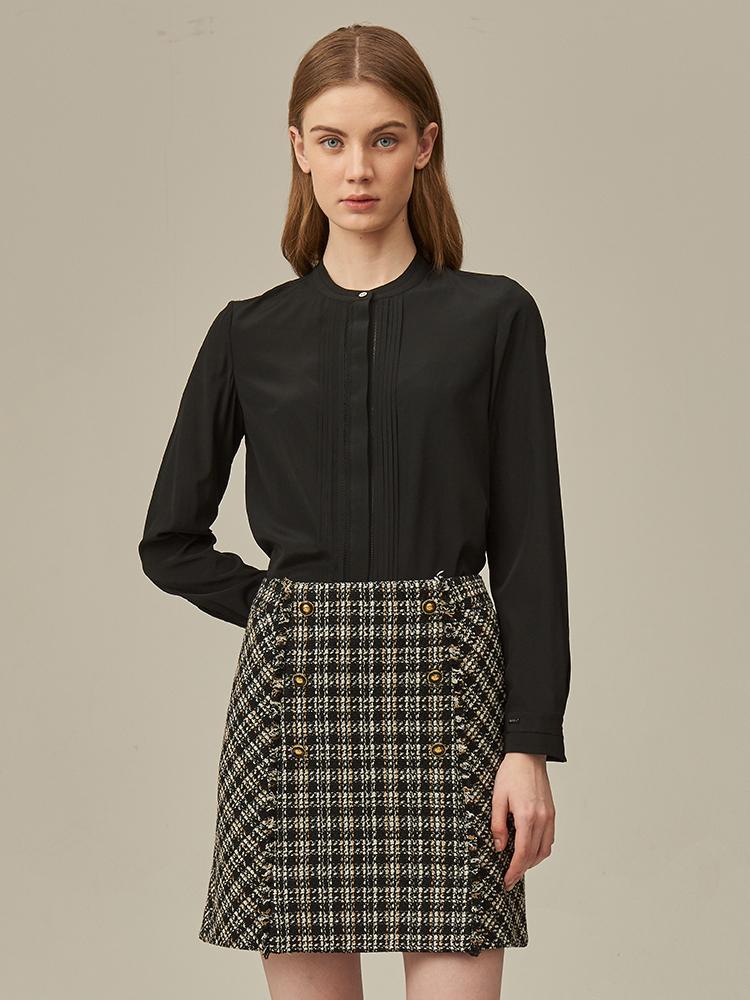 小香风变化格纹短裙