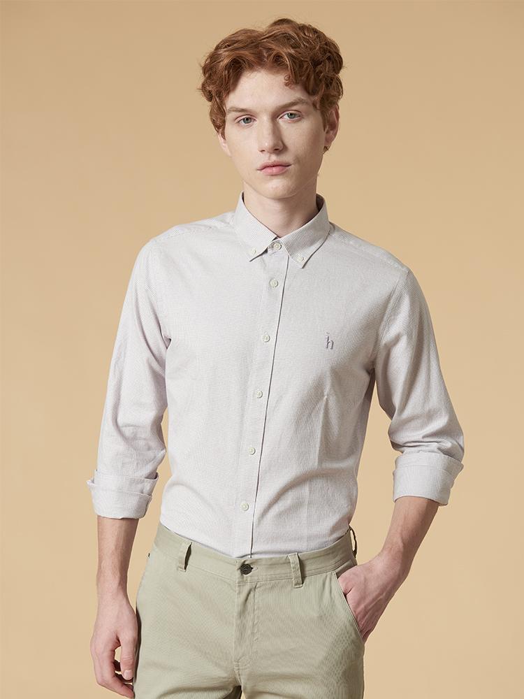 小千鸟格长袖衬衫