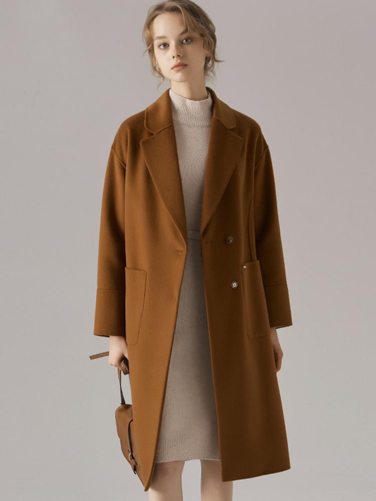 羊毛桑蚕丝混纺落肩袖手工大衣