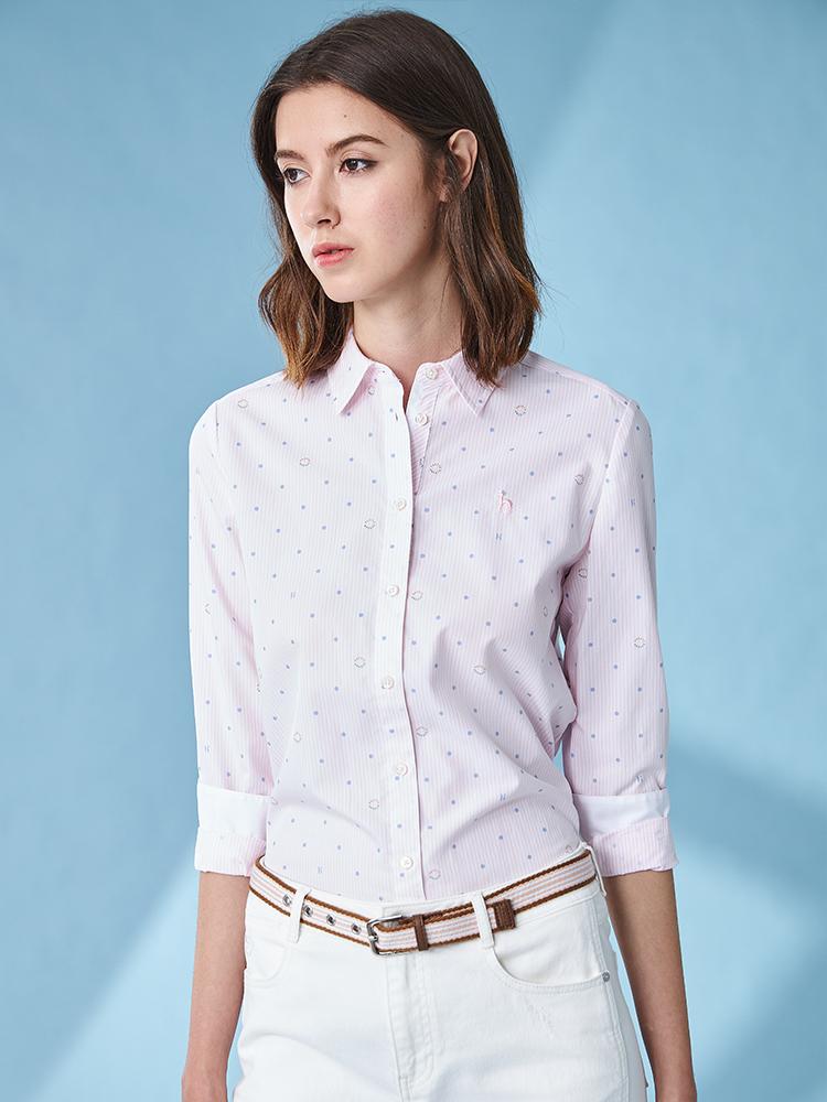 条纹印圆点长袖衬衫