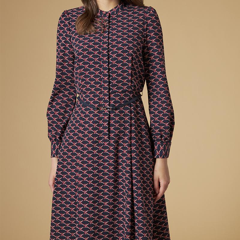 格子长袖连衣裙