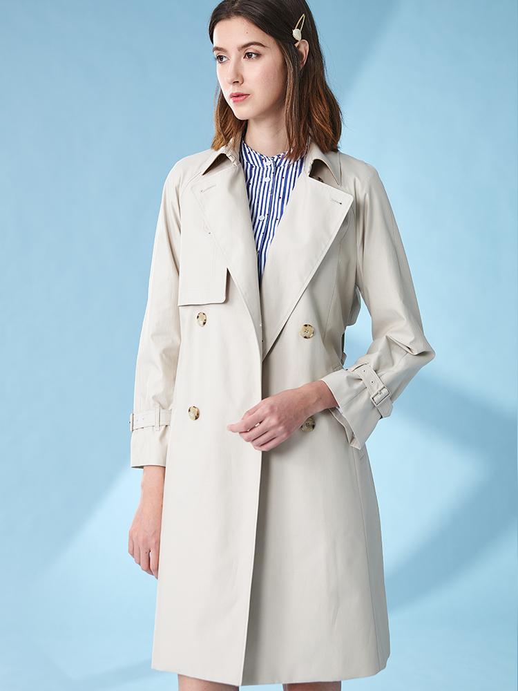 素色双排扣宽松中长款风衣