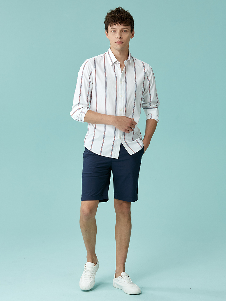 棉弹力混纺五分短裤