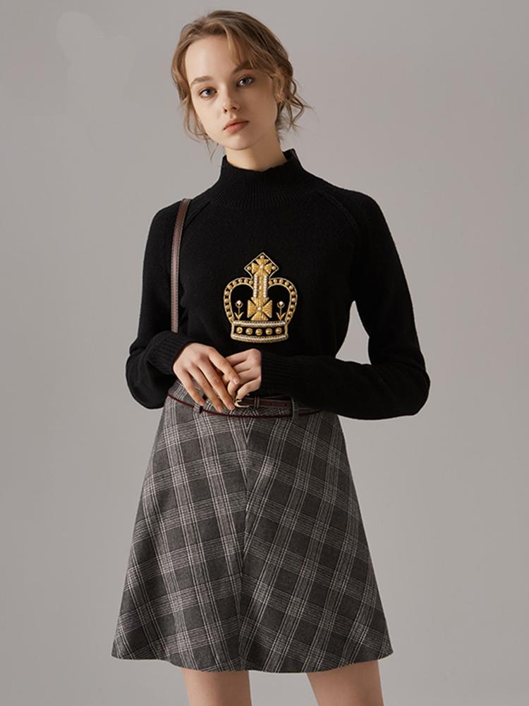 皇冠贴布绣羊绒混纺羊毛衫