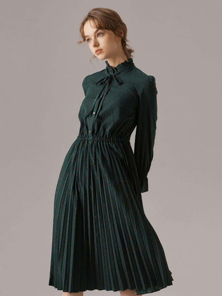 韩国进口面料荷叶领连衣裙