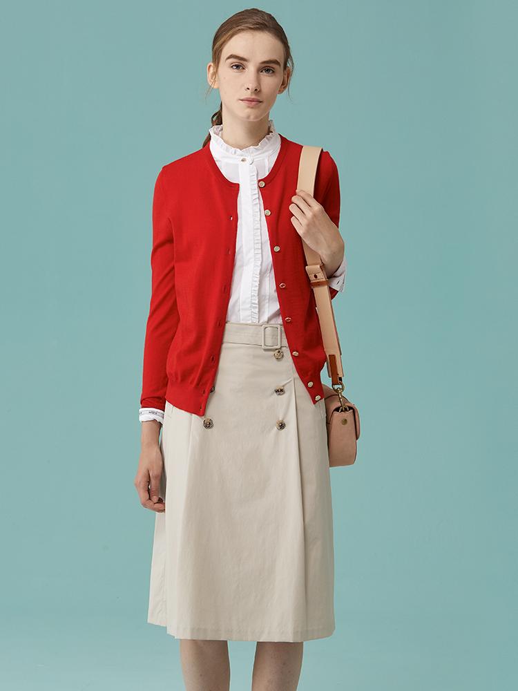 100%美丽诺羊毛圆领开衫
