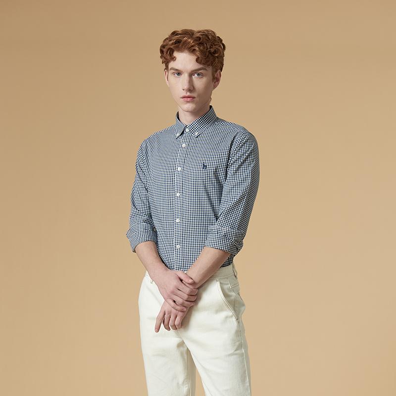 小格子长袖衬衫