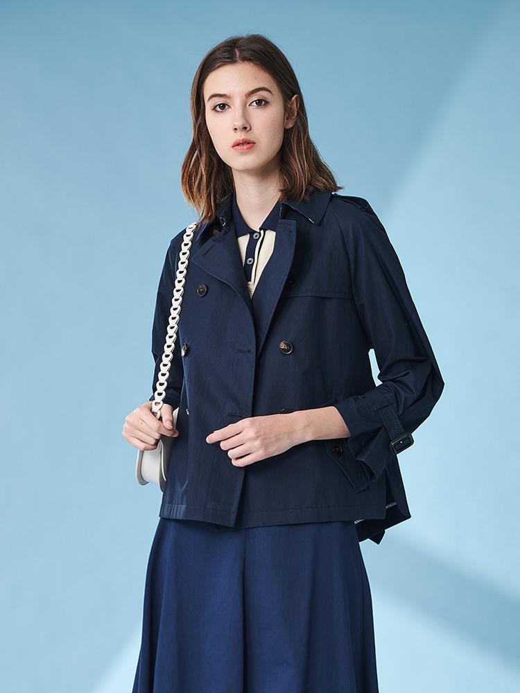 素色宽松双排扣短款风衣