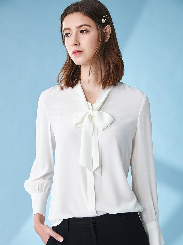 素色雪纺立领长袖衬衫