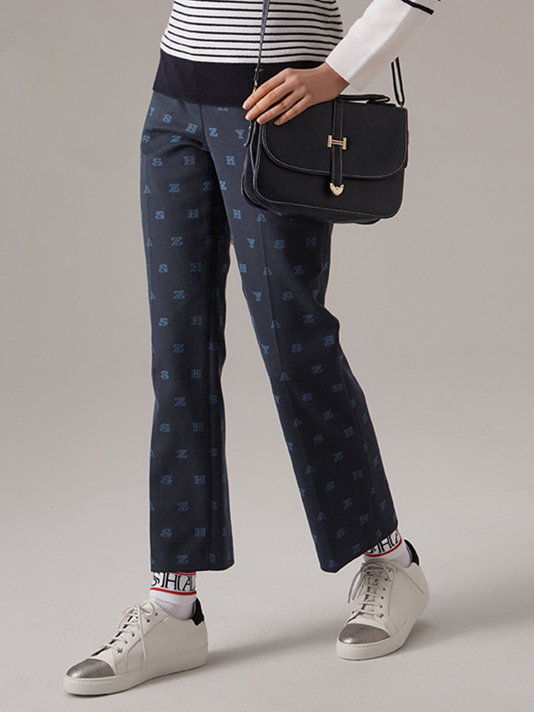 LOGOPLAY提花棉混纺直筒裤