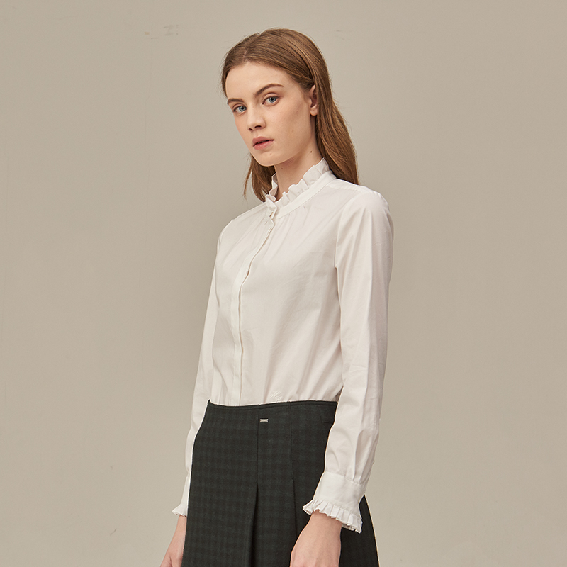 立领荷叶边女性化长袖衬衫