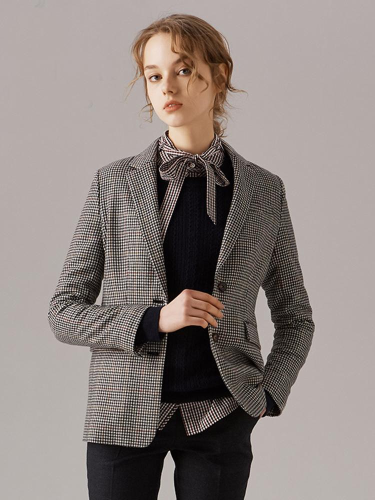超细美丽诺羊毛精纺小格纹单西