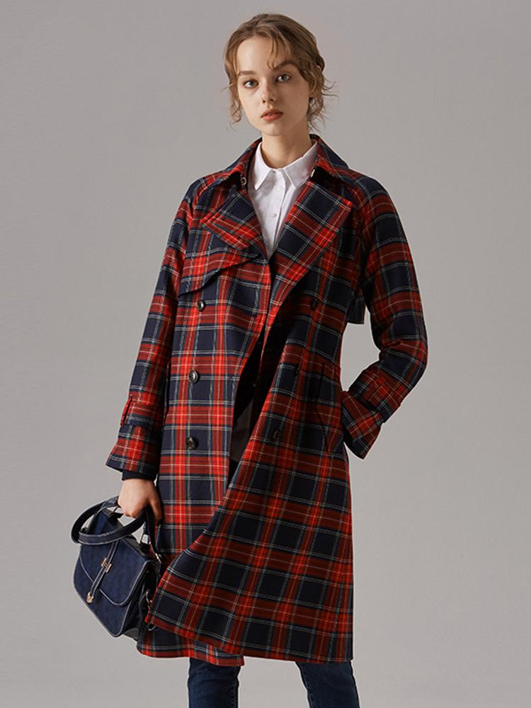 苏格兰格纹美丽诺羊毛风衣