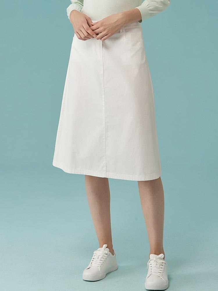 简约纯色中长款A字半身裙