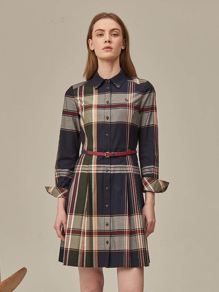 经典超大格纹衬衫连衣裙