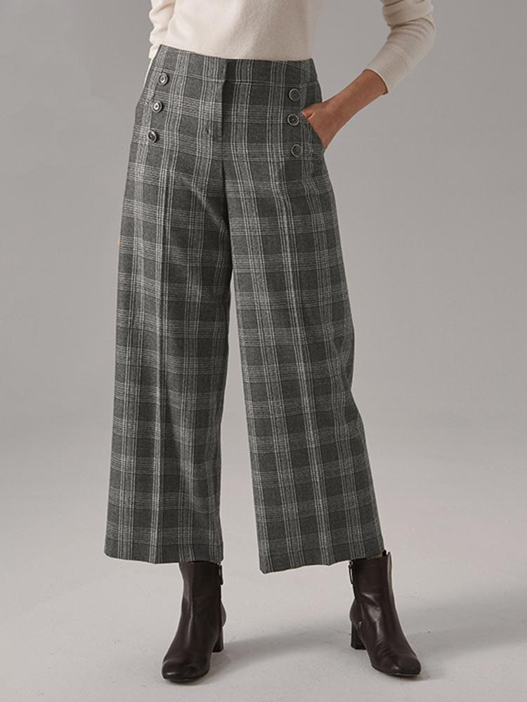 羊毛混纺复古中格纹休闲裤
