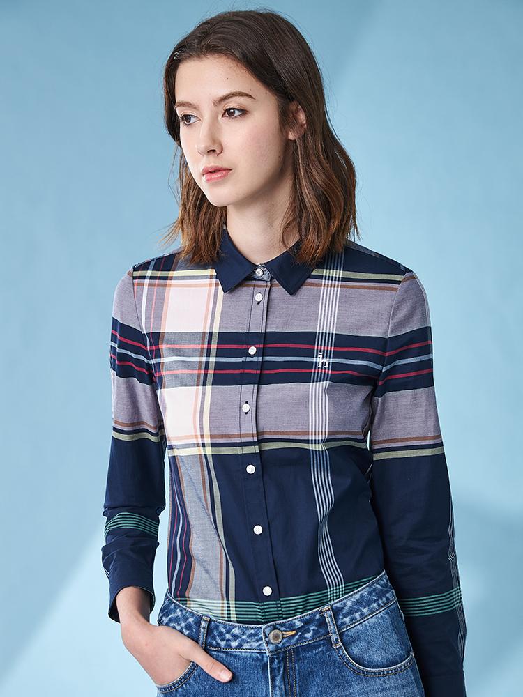 彩色超大格长袖衬衫