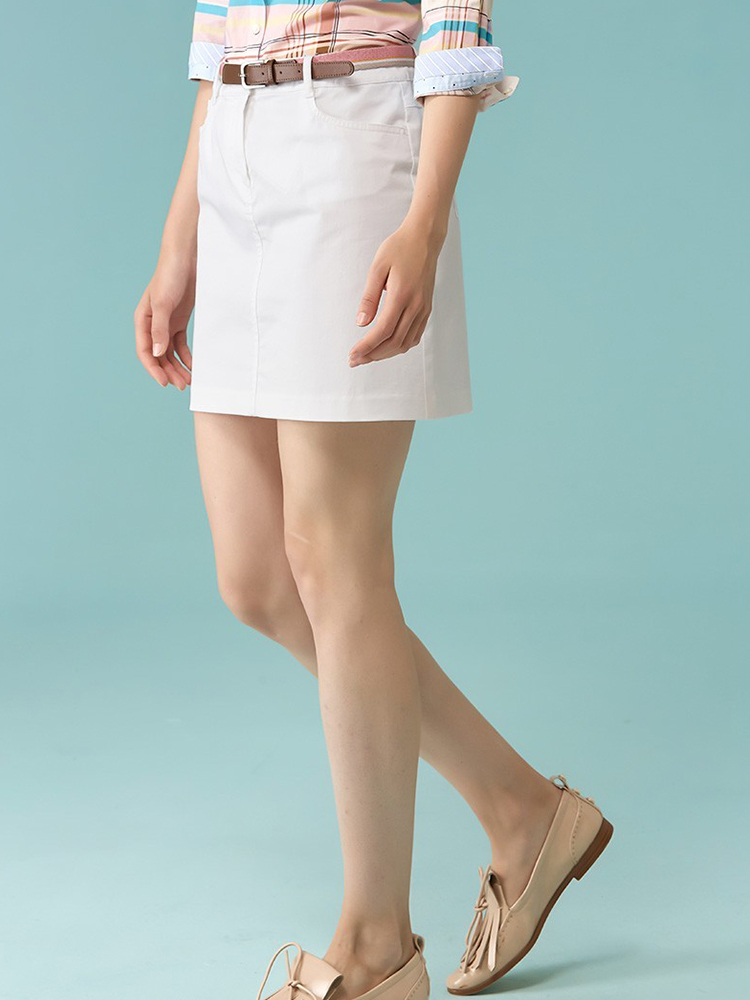 棉氨混纺主题绣花H型短裙