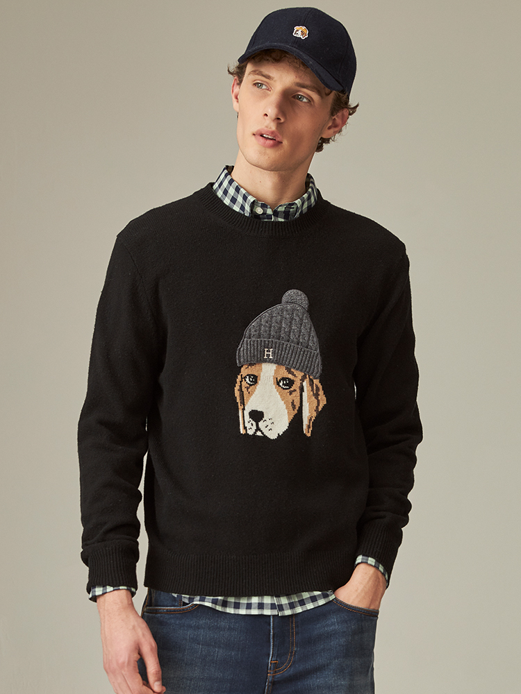 PHIZ带帽狗针织衫