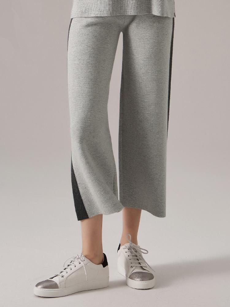 羊毛羊绒混纺侧条纹休闲裤