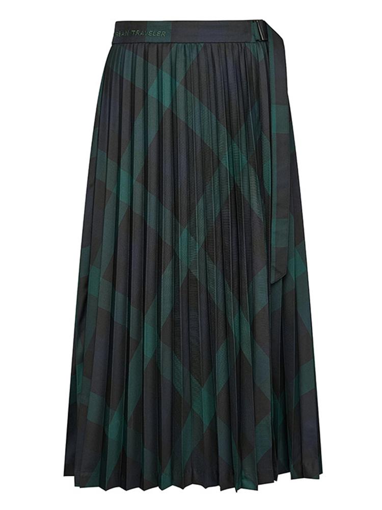 进口色织复古撞色格纹半身裙