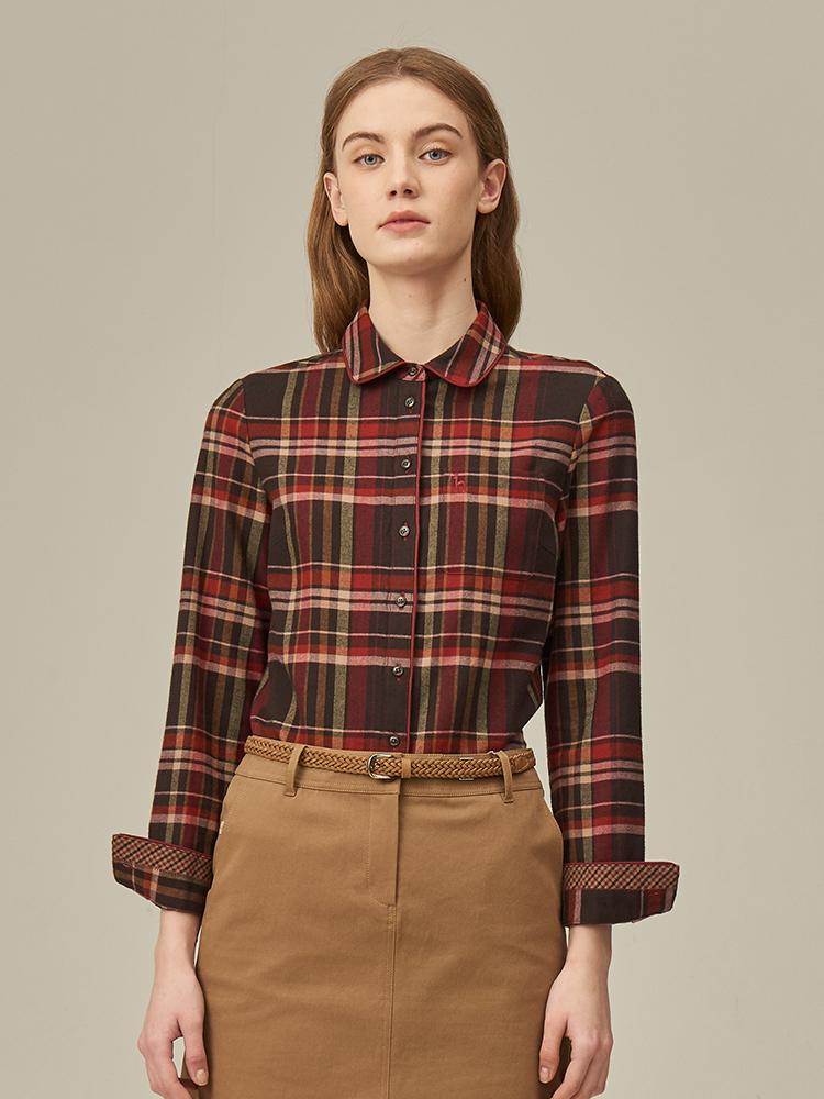 羊毛混纺彩色中格纹长袖衬衫